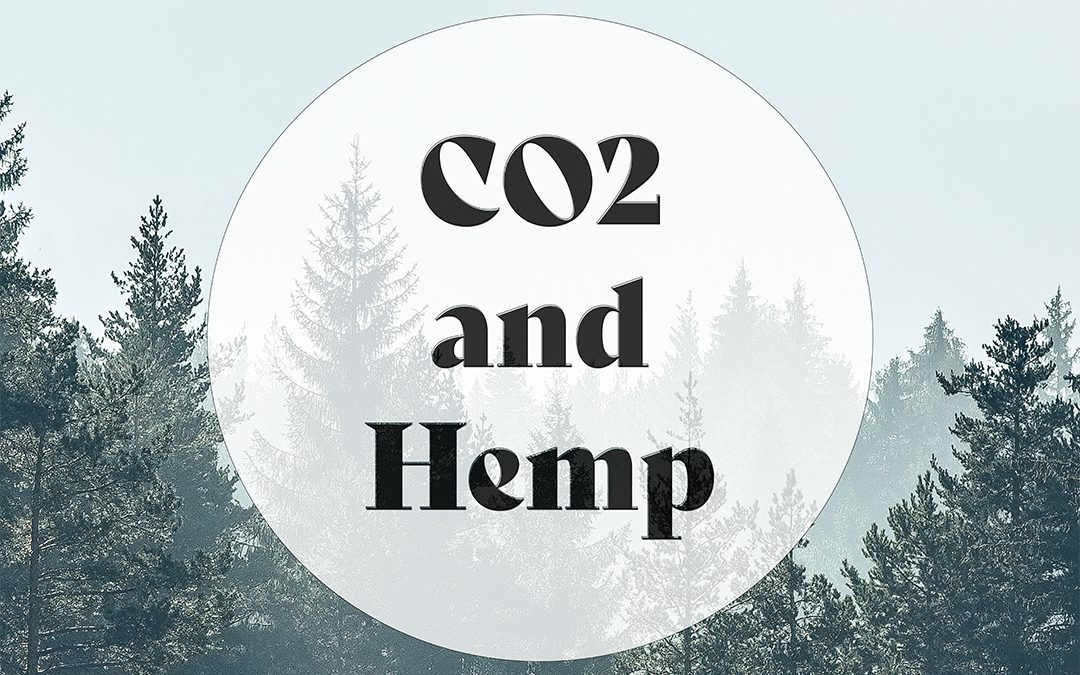 CO2 and Hemp on backdrop of trees